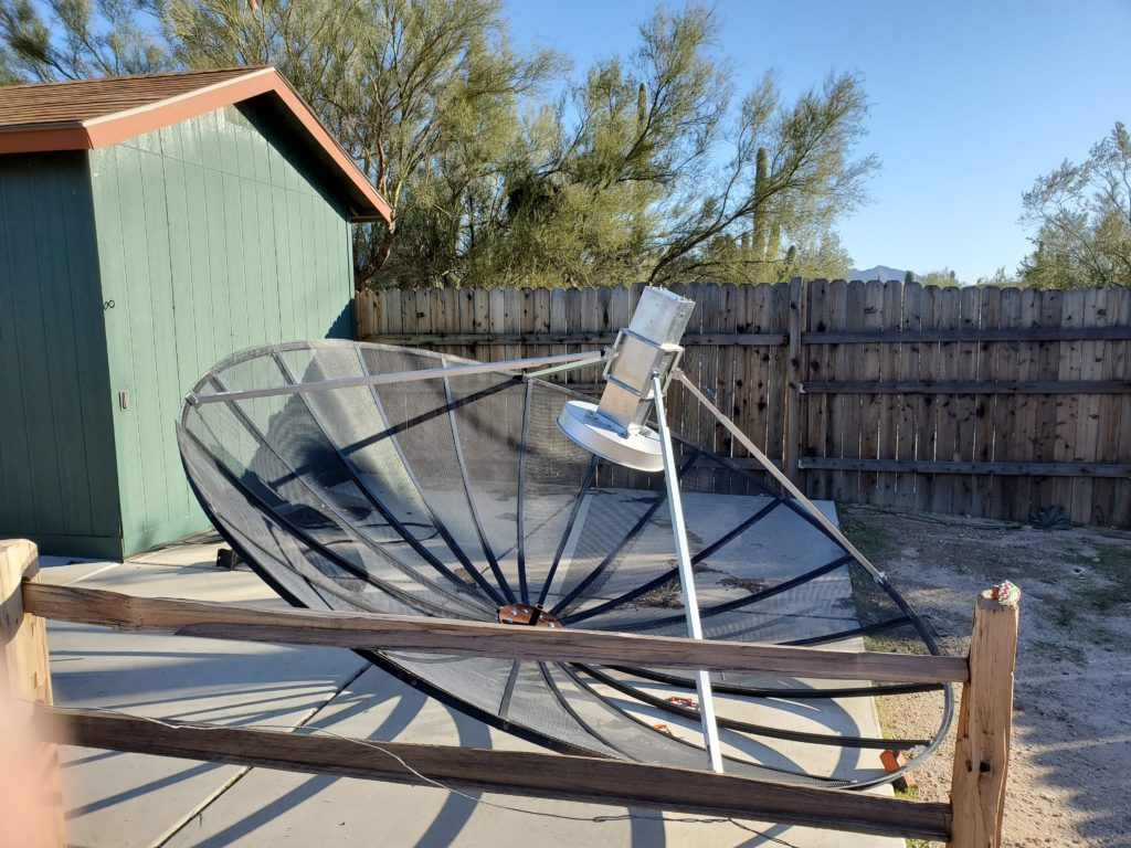 EME dish on ground with feed and scalar ring